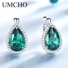 UMCHO Real 925 Sterling Silver Earrings Water Drop Nano Emerald Gemstone Clip For Women Christmas Gift Fine Jewelry