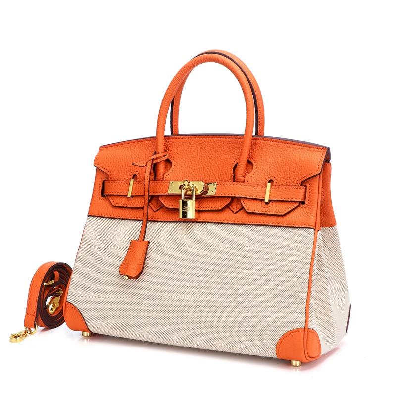 Nouveau sac à main femme en cuir véritable mode toile cuir couture sac fourre-tout dames luxe épaule Designer sacs Bolsa Feminina