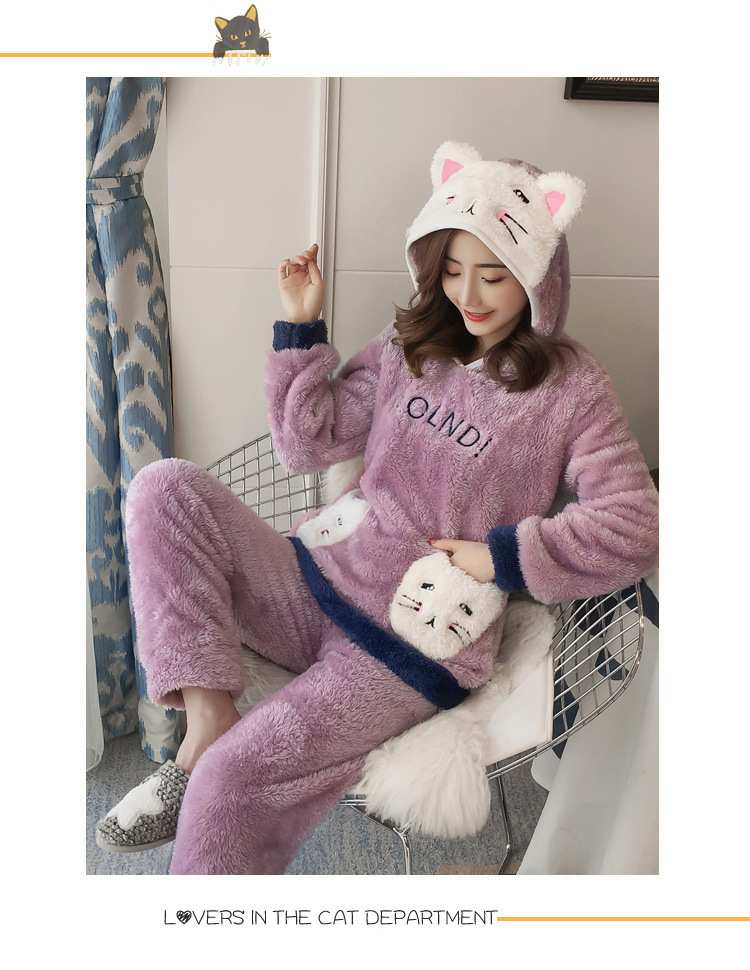 Winter Women Pajama Flannel Sleepwear Long Sleeves Hot Pajamas For Women Velvet Pajama Women Soft Clothing 95
