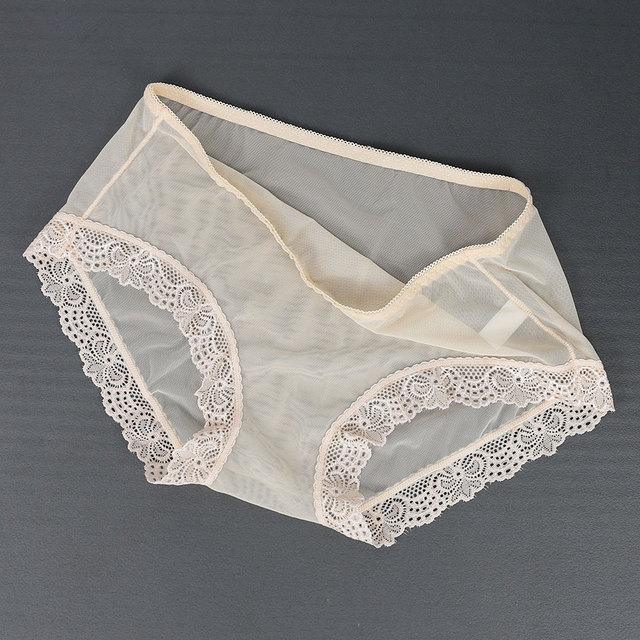 Women Lace Panties Full Transparent Briefs Female Ultra Thin Mesh Breathable Underwear Mid Waist Sexy Panty Lingerie For Ladies 3