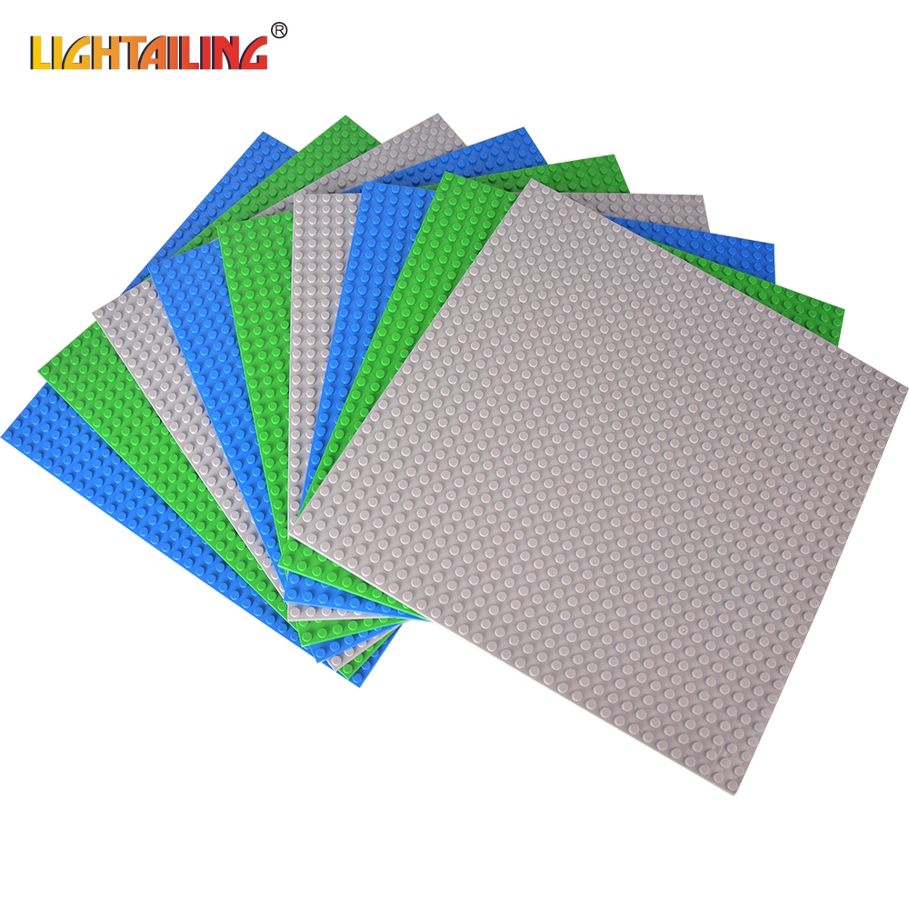 LIGHTAILING Brand DIY Bricks Baseplates Dots Base Plate 9 PCS 25.5cm*25.5cm Building Puzzle Bricks Toys Compatible with Lego 32 32 dots plastic bricks the island straight crossroad curve green meadow road plate building blocks parts bricks toys diy