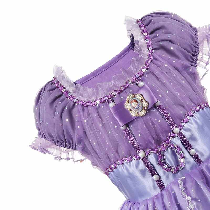 6b74bdfb63949 ... VOGUEON Little Girls Sofia Princess Dresses Kids Puff Sleeve Sequined  Summer Cosplay Costume Children Prom Halloween ...
