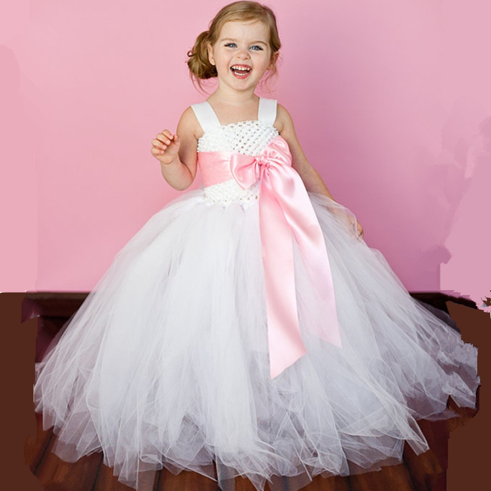 Kids Girl Tutu Dress Wedding Bridesmaid Ball Gown Flowers Girl Dresses White Birthday Party Children Dress Tulle Princess Dress tutu baby solid white bridesmaid flower girl wedding dress tailed tulle fluffy ball gown birthday evening party dress