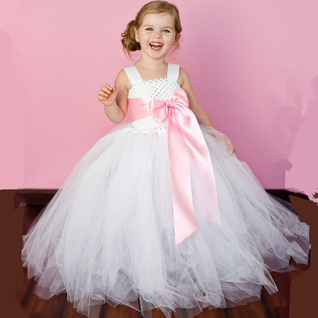 7f29d7e262f Kids Girl Tutu Dress Wedding Bridesmaid Ball Gown Flowers Girl Dresses White  Birthday Party Children Dress Tulle Princess Dress