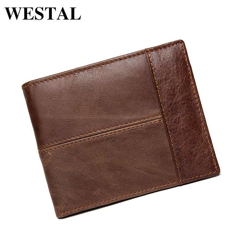 Portefeuille WESTAL homme en cuir véritable portefeuille court hommes Vintage en cuir de vache homme décontracté portefeuilles sac à main porte-cartes Standard 8064