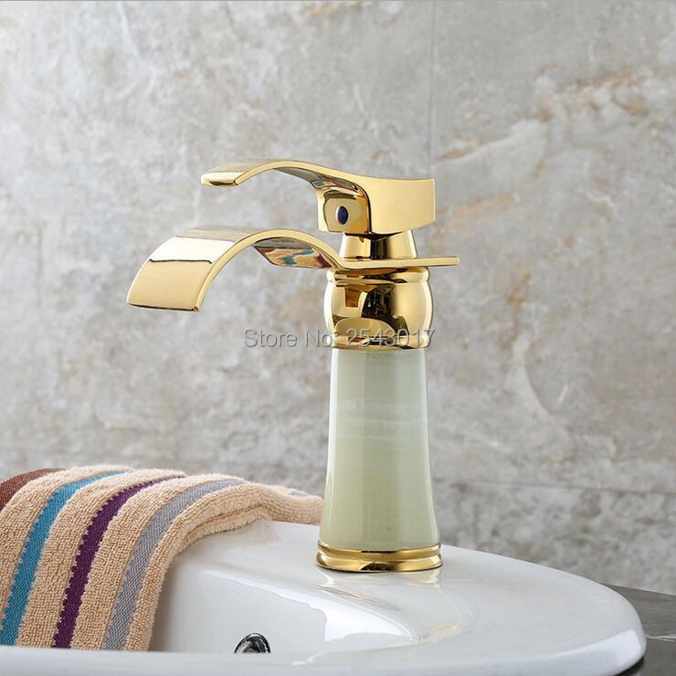 grifos de bao de oro de piedra de mrmol lavabo cascada mixer taps vessel fregadero torneira