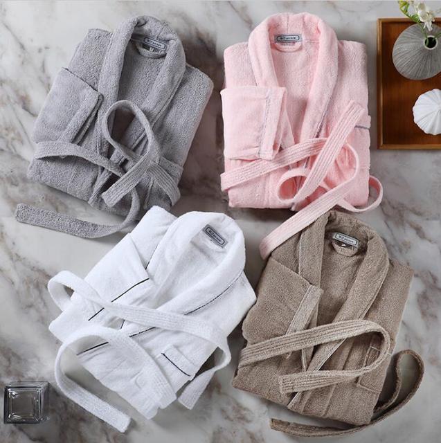 100% Cotton Robe de soiree Kimono men Bathrobe men Peignoir homme Hotels Winter thick