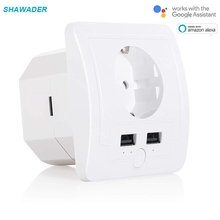 WiFi Smart EU Plug Sockets Power Outlet Multiway USB Charger Remote Control Timing Compatible with Alexa Echo Google Home broadlink mp1 smart wifi power strip remote control separately 4 ac sockets outlet with adapter timing switch energe saving 1 5m