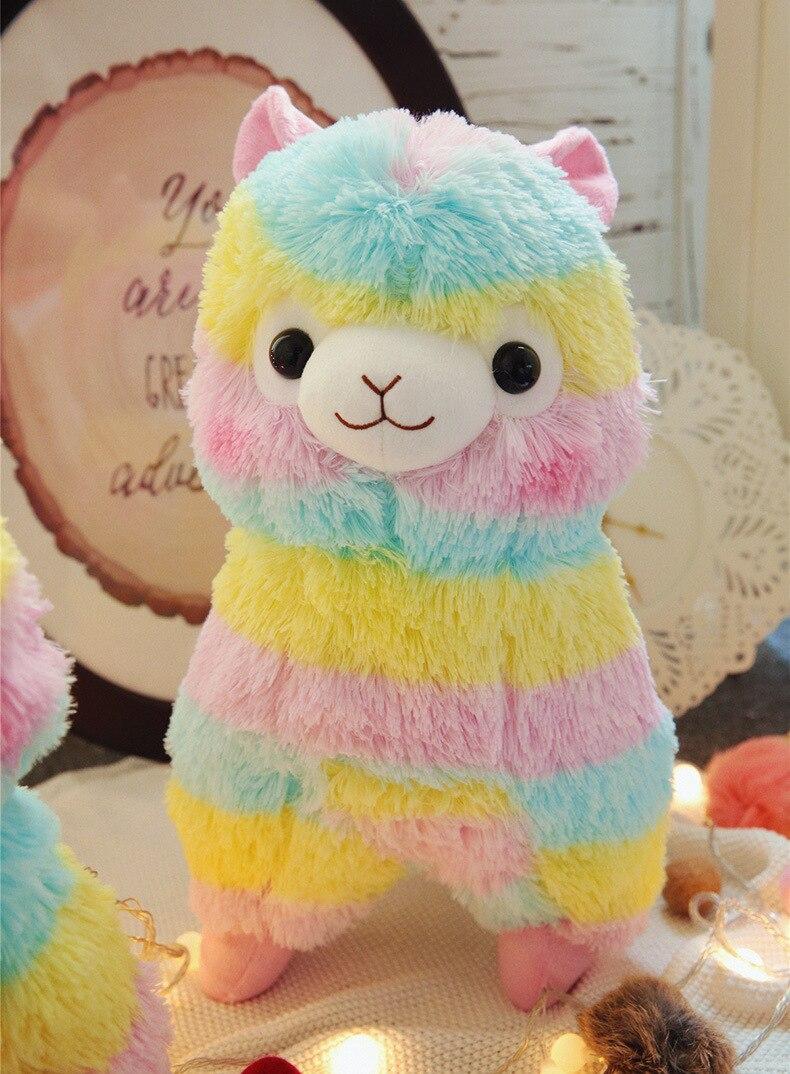Grand 50 cm belle alpaga arc-en-ciel mouton peluche jouet doux poupée jeter oreiller cadeau de noël h2301