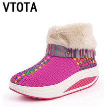 VTOTA Women Boots Non-Slip Waterproof Winter Ankle Snow Platform Wedges Shoes With Thick Fur Botas Mujer H198