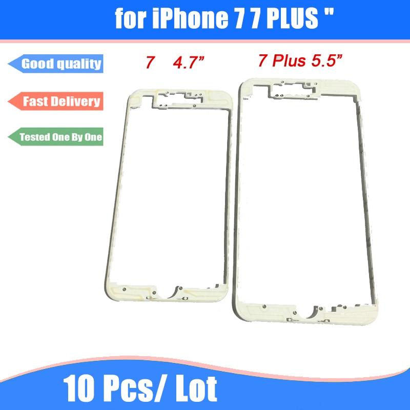 imágenes para 10 unids/lote Negro/Blanco Frontal Holder LCD Marco Medio Del Bisel Del Chasis con Pegamento caliente del Derretimiento para el iphone 7 y 7 Plus Vivienda partes