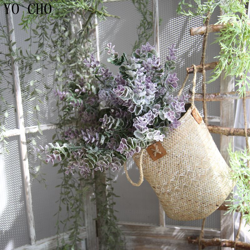 YO CHO Xmas Gift! High Quality Real Touch Artificial Flowers Money Leaves Eucalyptus Wedding Office Home Garden Xmas Party Decor