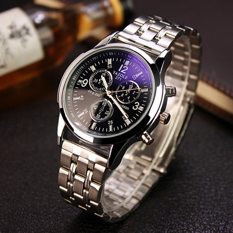 YAZOLE Full Steel White Black Blue Ray Dial 30m Waterproof Luminous Hands Business Dress Sport Wrist watch Watches for Men Male
