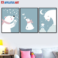 Rabbit Polar Bear Star Moon Wall Art Canvas Painting Cartoon Nordic Posters And Prints Pictures For Kids Room Baby Decor