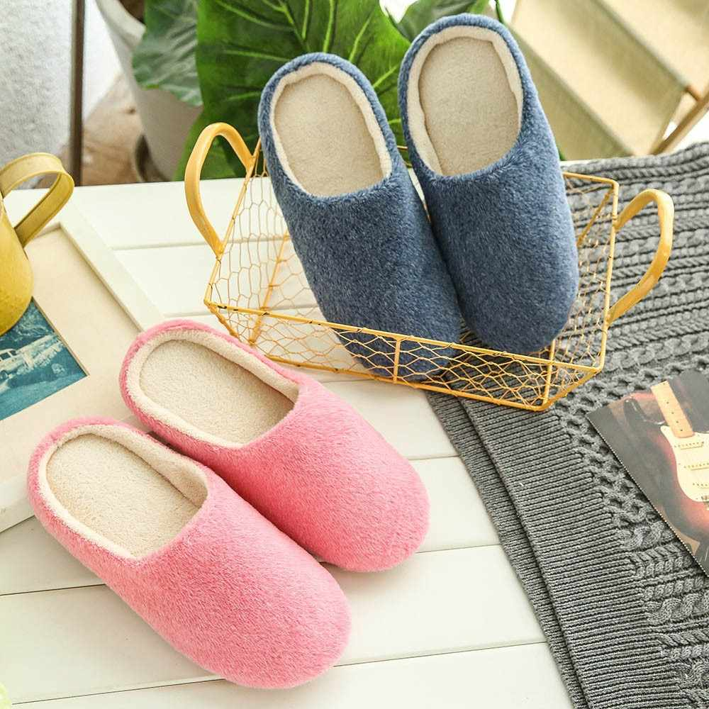 Women Warm Home Plush Soft Sandals Indoors Anti-slip Winter Floor Bedroom Shoes Candy colors slip-on hot sales round toe