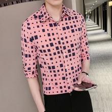 LOLDEAL Summer Three-quarter Sleeve Irregular Plaid Shirt Men