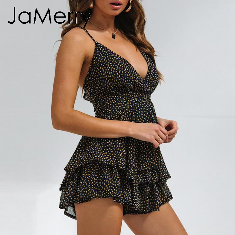 JaMerry Boho sexy dots women chiffon rompers Backless spaghetti strap short   jumpsuit   High waist sashes casual summer playsuits