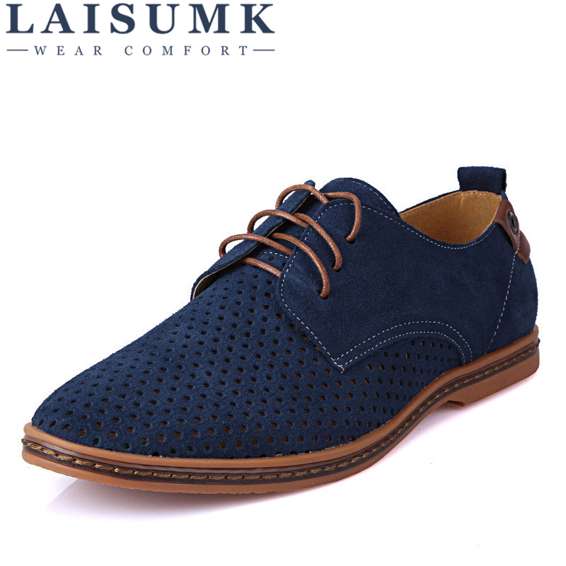 LAISUMK Brand Spring Summer   Suede     Leather   Men Casual Shoes Fashion Mens Flats Soft Breathable Lace Up Sneakers Plus Size 39-48