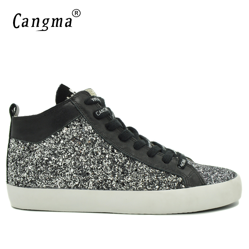 CANGMA Brand Sneakers Men Sequin Casual Shoes Mid Delicate Black And White Paillette Classic Man Leisure Shoes Zapatos Plus Size