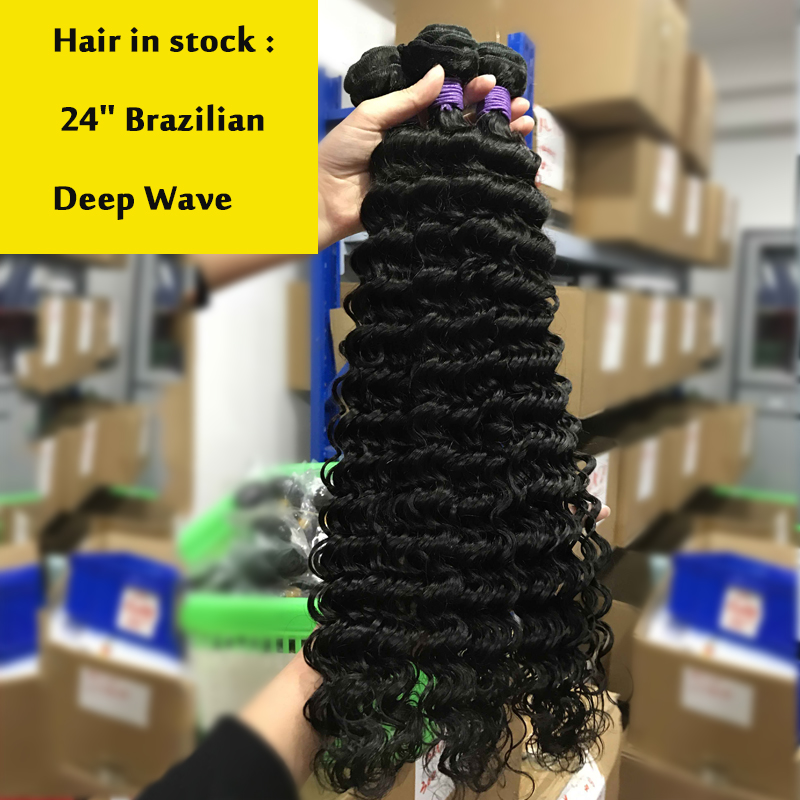 Aliafee Hair 4 Bundles Deal Deep Wave Brazilian Hair Weave Bundles - Mänskligt hår (svart) - Foto 6