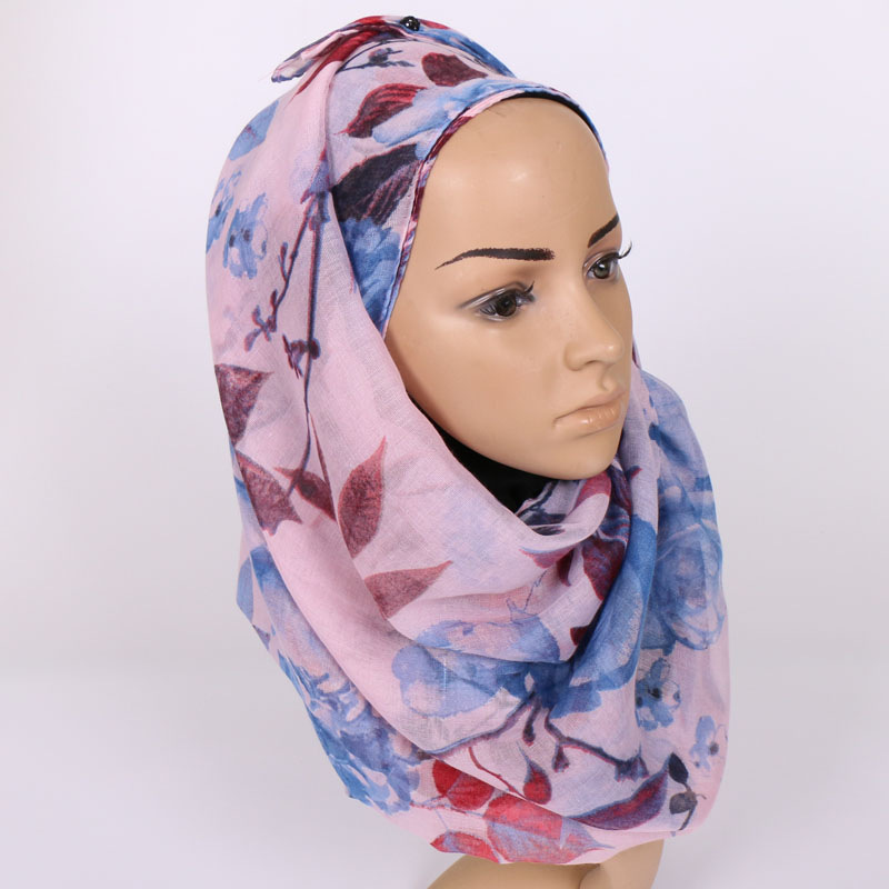 Luxury Brand Women Voile Cotton Scarf Islam Headhand Fashion Lady Girls Flower Scarves Muslim Hijab Popular Wrap Shawl Lic