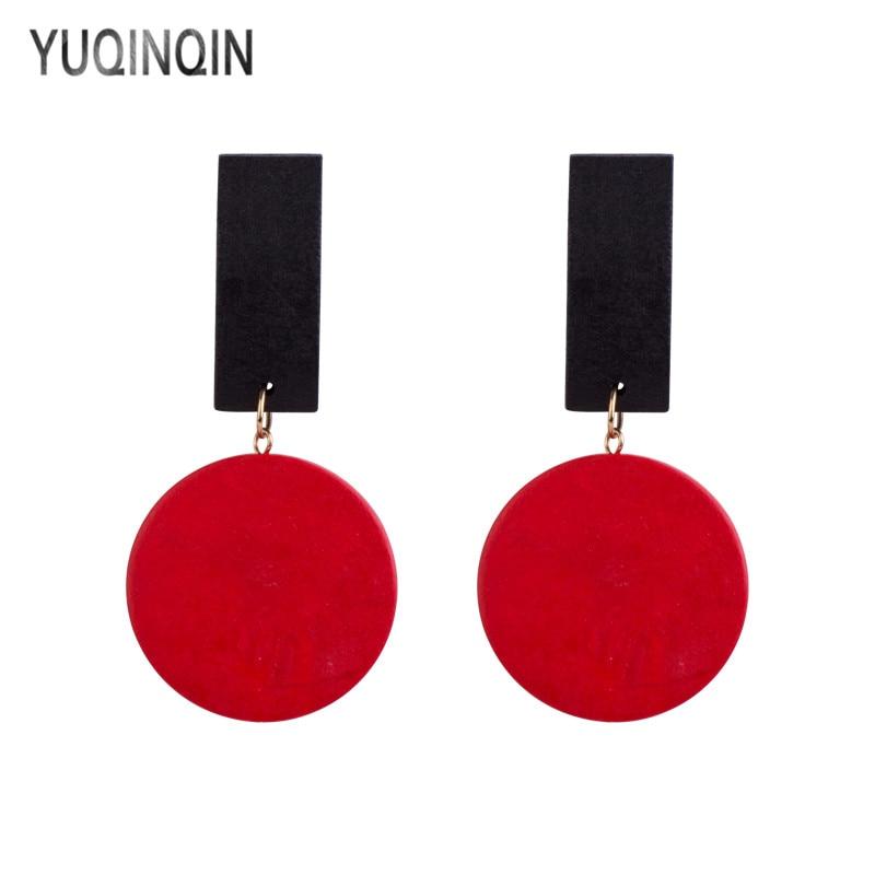 YUQINQIN Classic Drop Earrings for Women 2018 Statement Acrylic Long Circle Dangling Earings Fashion Elegant Wood Summer Earring
