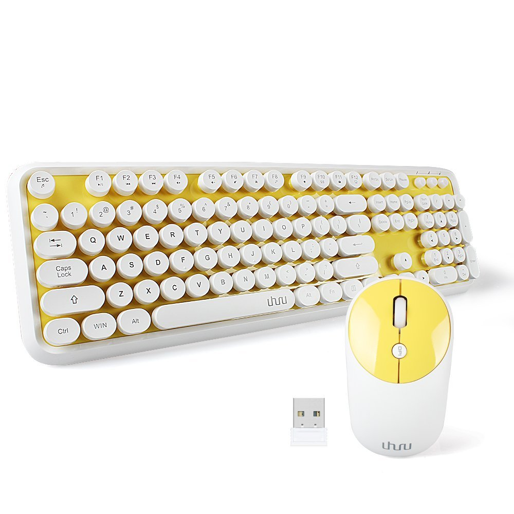 UHURU Wireless Full-size Keyboard and Cordless Mouse with Comfortable Round Key and Smart Power-saving for Computer, Laptop