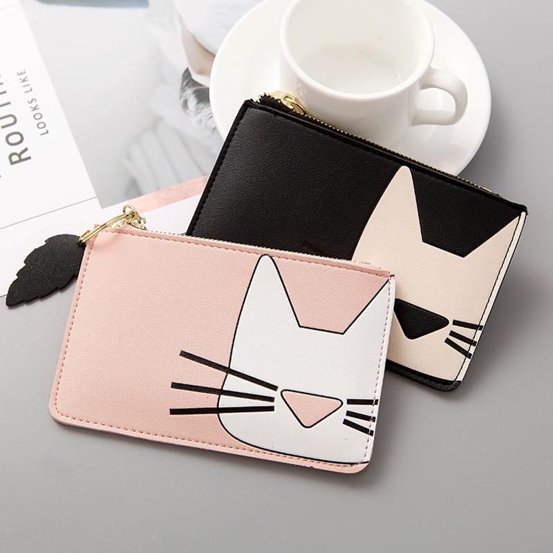 Cute Cat Prints Women Wallet for Credit Cards Short Zipper Women Cardholder Lovely Purse for Cards New Porte Carte Netherlands