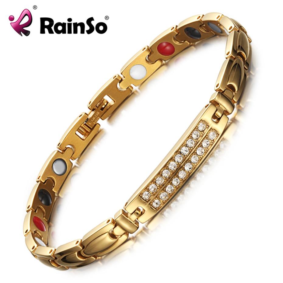 RainSo Magnetic Bracelets & Bangles for Women Zircon crystal Bracelets Healthy Jewelry for Women Bio Energy Hologram Bracelets bracelets