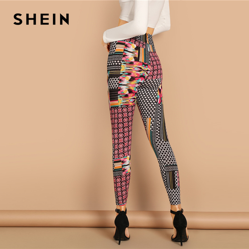 514e33dda SHEIN Multicolor Casual Solid Geometric High Waist Patchwork Print Long  Leggings Autumn Leisure Modern Lady Women Leggings-in Leggings from Women s  Clothing ...