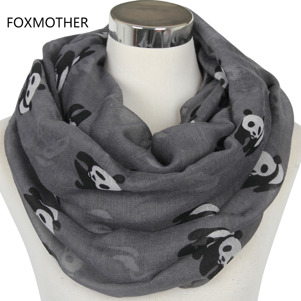 FOXMOTHER 2019 New Fashionable Grey Blue Panda Animal Infinity Scarf Scarves For Women/Ladies Gifts