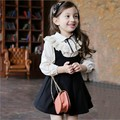 2017 Spring New Girls Fashion Dress Suit Baby Kids Pleated Vest Dress + Shirt Tops With Laces 2 Pcs Children's Wear Twinset G448