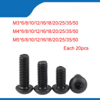 Free shipping M3 M4 M5 black Hex socket Round Button Head Screw Screws