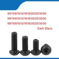 Free shipping M3 M4 M5 black Hex socket Round Button Head Screw Screws