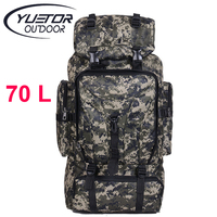 YUETOR 70L Men Camping Waterproof Travel Military Army Bags Outdoor Sport Molle Tactical Rucksacks Camouflage Hiking