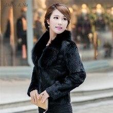 Daisy & Na Hot Women Winter black Collar Warm Faux Fur Long Sleeve Jacket Coat Outwear 052