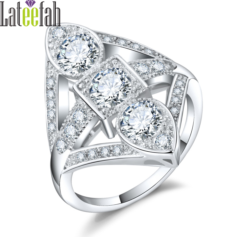 Lateefah Luxury Trendy Jewelry Rings for Women Wedding Gorgeous Cubic Zirconia Female Engagement Ring Art Deco Ring Anel Bague
