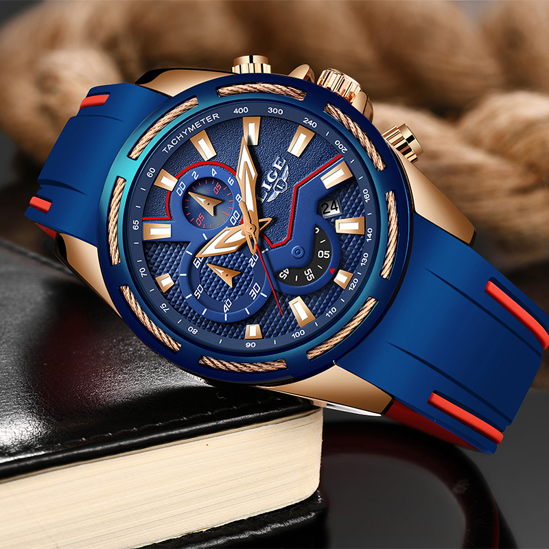 Image 3 - LIGE Fashion Mens Watches Top Brand Luxury Multi function dial Sports Watch Men Date Waterproof Quartz Clock Relogio Masculino-in Quartz Watches from Watches