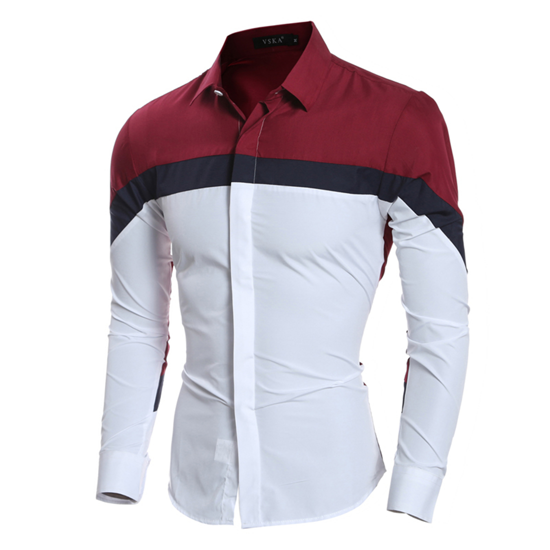 Luxury Tuxedo Shirts Men Contrast Color Patchwork Brand Shirt 2017 Long Sleeve Single Breasted Office Work
