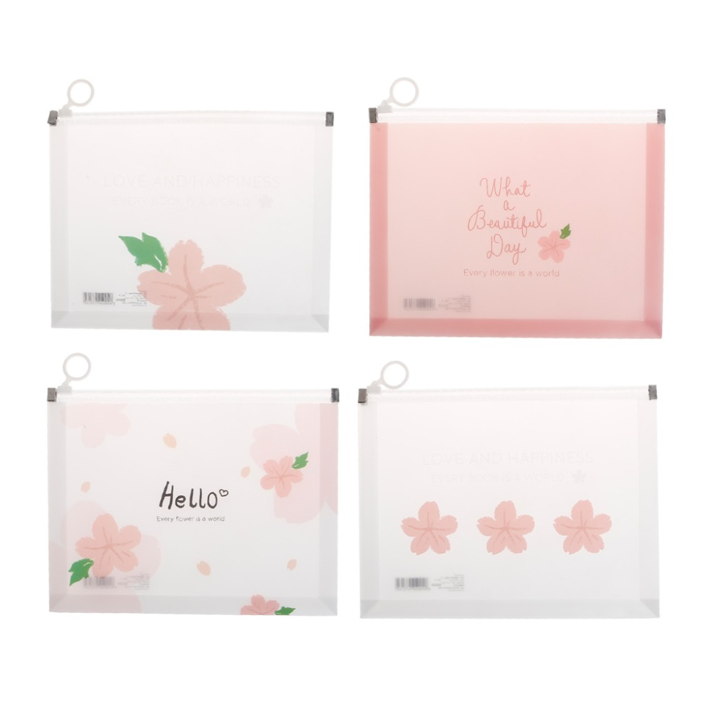 PVC Folders For A4 Documents A4 A5 Cherry Blossom Clear Plastic Document Stationery Case Zipper Bag Office School Stationery
