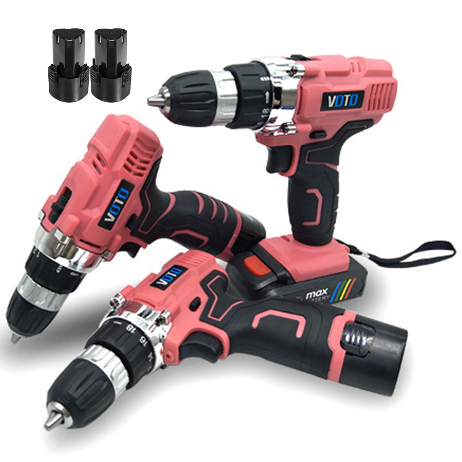 VOTO V6 2*Battery Rechargeable Cordless Drill Electric Screwdriver Set Lithium Power Tools Screw Gun Driver 12V 16.8V 21V Pink lomvum 12v 16 8v 21v cordless rechargeable lithium battery electric screwdriver mini drill kit furadeira screw gun longyun
