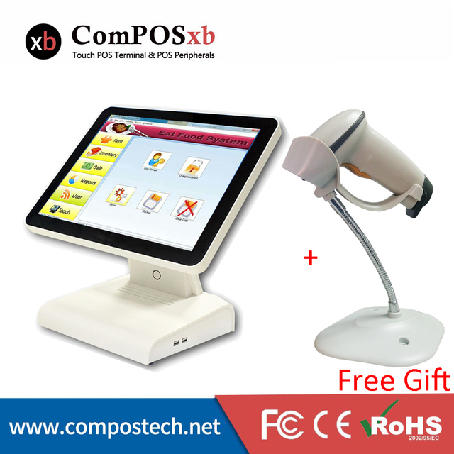 Cheap Top Manufacture Retail Point Of Sale All In One Pos Machine 15 Inch Epos Restaurant Pos System PC With Free Laser Scanner