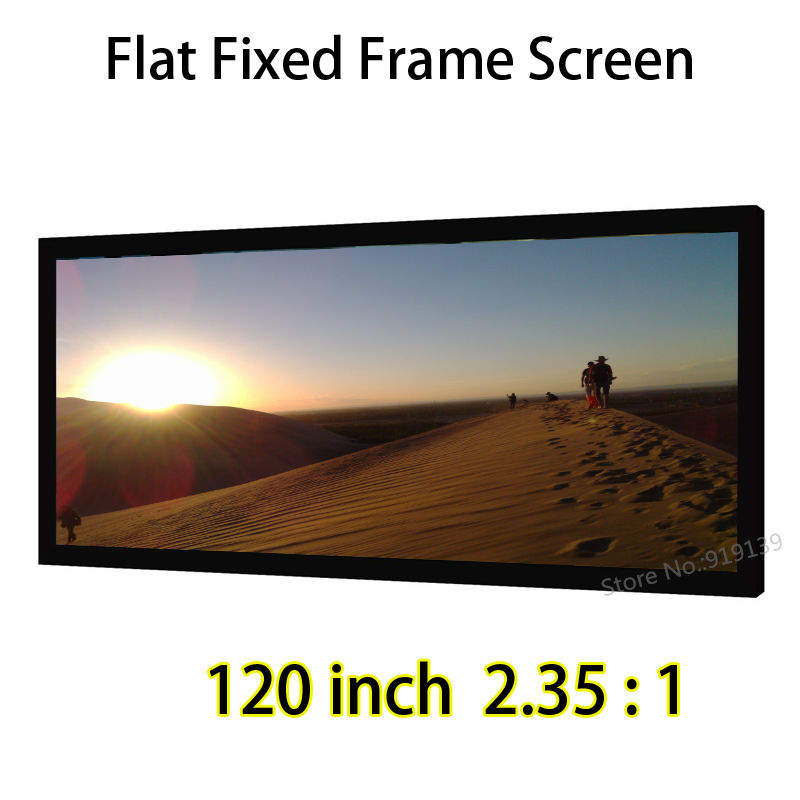 HD Screen 120-inch 2.35:1 Flat Fixed Front Projection Screens With 80mm Black Velect Aluminum Frames full hd 190 inch 16 9 curved fixed frame front projection screen with 1 2 gain 3d cinema projector screens