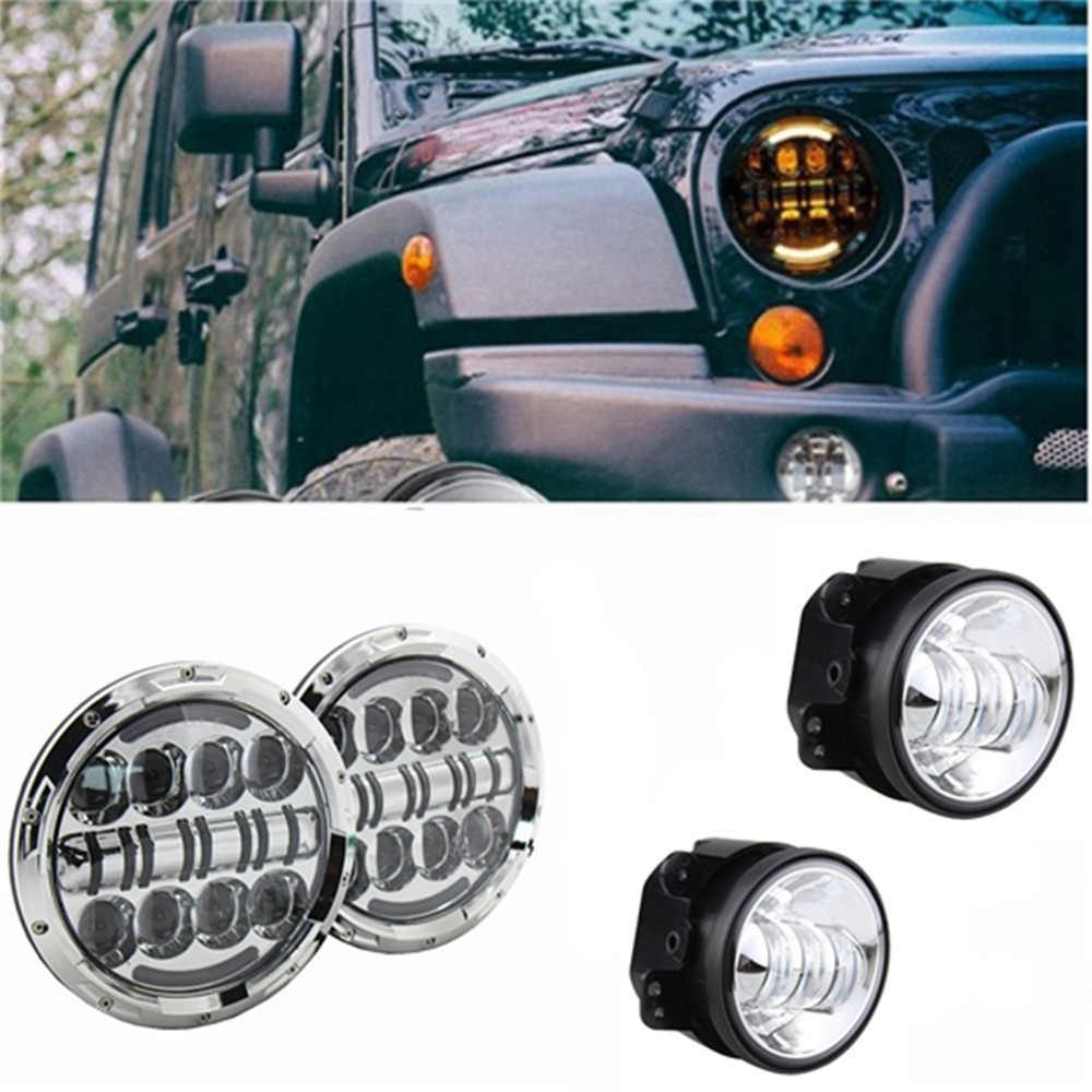 7 Inch 80W Round Led Headlights DRL Projection Headlamp + 4  Led Fog Lights For Jeep Wrangler JK TJ LJ Sahara Rubicon Unlimit 7 inch 80w round led headlights high