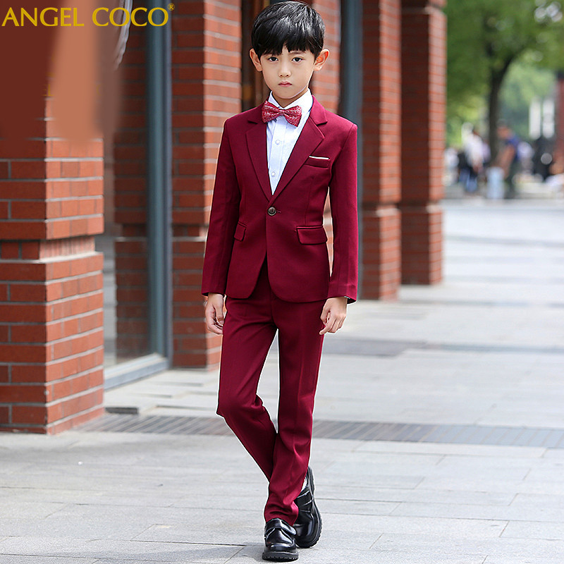 цена Burgundy Boys Suits For Weddings Costume Enfant Garcon Mariage Suit For Boy Kids Wedding Suit Blazer Prom Suits Terno Menino