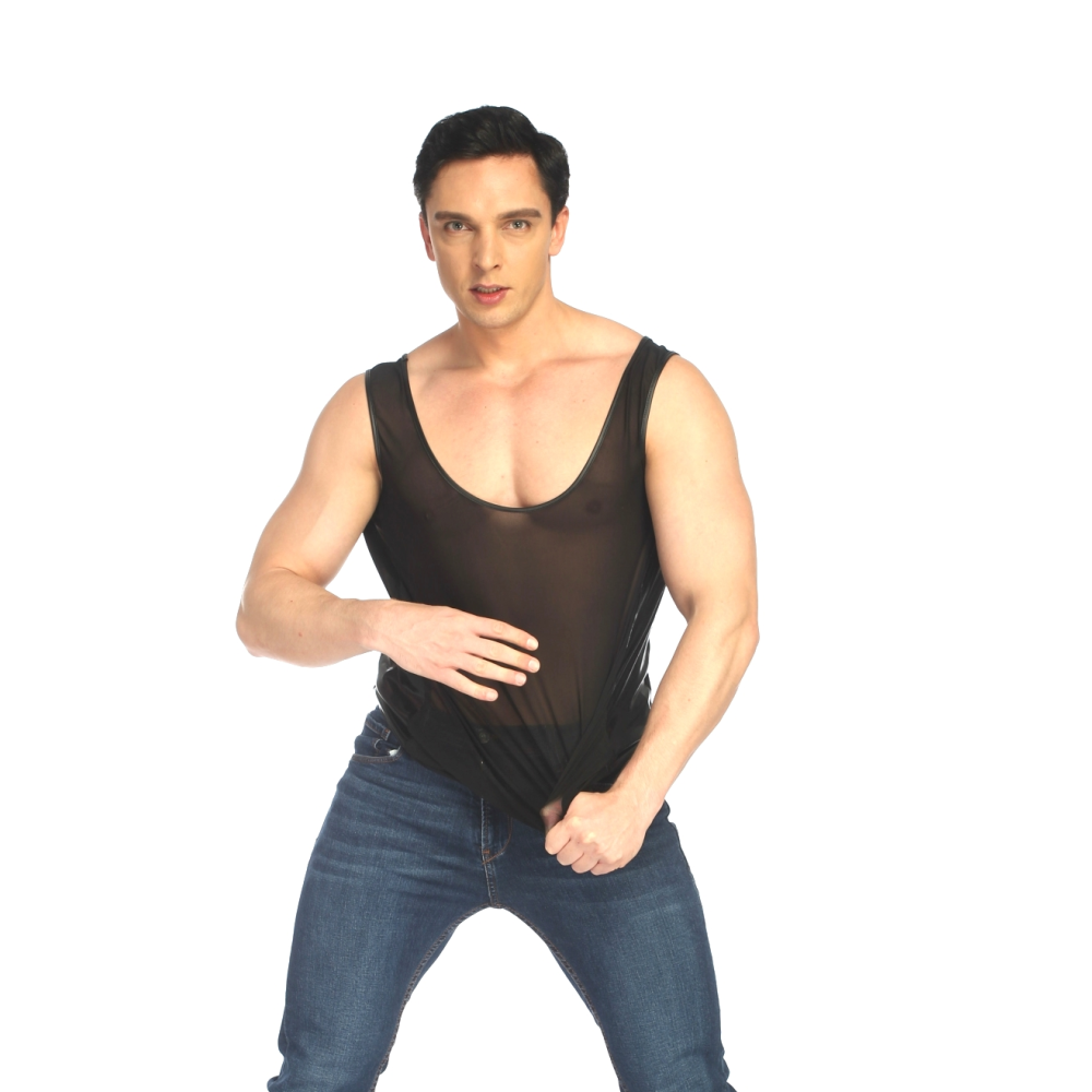 Buy LK55 Summer Style 2018 Fashion Front Net Tanks Back Faux Leather Men Sexy Lingerie Fitness Tops Tees Sleeveless Black