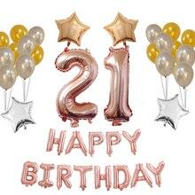 1set ροζ χρυσό Ευτυχώς γενέθλια γράμματα ballon Αριθμός 21st μπαλόνια φύλλων & μπαλόνια latex globos Γενέθλια Party Διακόσμηση Προμήθειες