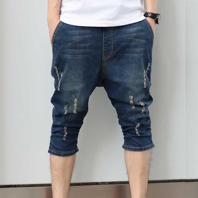 Men's Summer Short Jeans Plus Size Loose Ripped Hole Harem Jeans Hip Hop Shorts Elastic Waistline Cotton Men Jeans Homme M-5XL