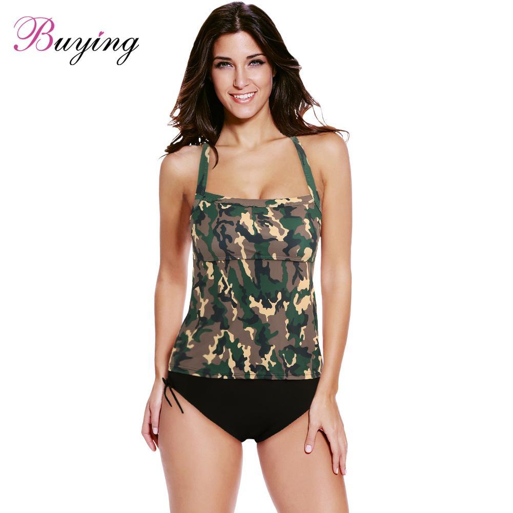 985b03cc6bd US $10.65 34% OFF|Sexy Women Bikini Set Swimwear Swimsuit Camouflage Print  Spaghetti Strap Tankini plus size swimwear Two Piece Bathing Suit-in Body  ...
