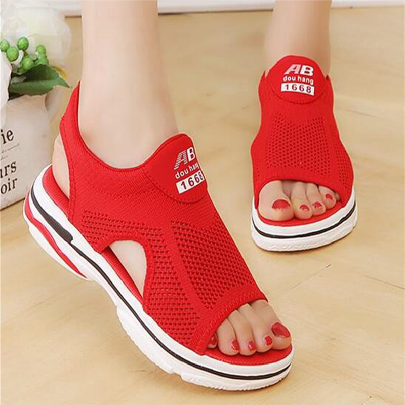 2018 women sandals summer new platform sandal shoes breathable comfort shopping ladies walking shoes Red black Casual Shoes women creepers shoes 2015 summer breathable white gauze hollow platform shoes women fashion sandals x525 50
